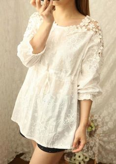 2015 Winter Autumn Women Long Sleeve Crochet Flower Floral Cotton Fashion White Waist Tight Thin Ladies Casual Tops Blouse&Shirt