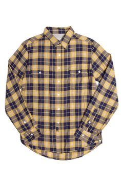 This is going to look good on you this summer - Davie Yellow Indigo Plaid Shirt from @bridgeandburn of Portland Oregon.