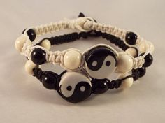 Yin Yang Macrame Bracelet, Natural Hemp Friendship Bracelet