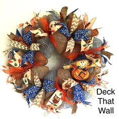 This gorgeous Fall wreath is made with three different types of mesh, featuring…