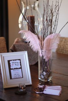 wishing tree - baby advice cards... I like this instead of a sign in book.. I have a vase already