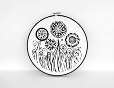 B&W Embroidery Hoop Art