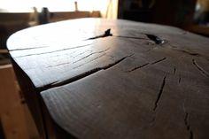DIY tree stump table.