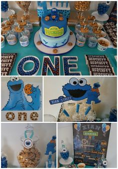 Cookie Monster Candy and Cookie Buffet Table. Xian's Cookie Monster 1st Birthday Party #1stbirthday #cookiemonsterparty #sesamestreet #orlando #eventplanner #immaculateeventsllc