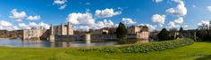 A panoramic view across the moat of Leeds Castle, sometimes called the loveliest castle in the world.