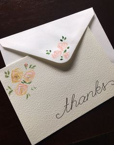 Note Card set, 1 or 2 cards & envelopes, brush painted pink cottage Roses, floral hand painted Thank you cards painted envelope stationary