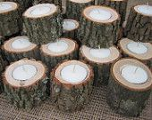 Rustic Wedding Decor Logs Tealights 7 Hour Candles. $55.20, via Etsy.