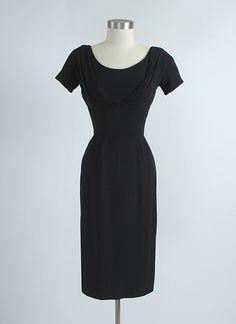 HEMLOCK VINTAGE CLOTHING : Late 1950's Draped Neckline Crepe Cocktail Dress
