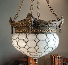 Awesome Late Victorian/ Early Art Nouveau Opaline Leaded Turnip Shade Hanging Lamp from Stidwill's Antiques on Ruby Lane