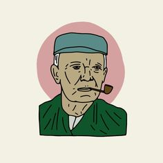 Old Man with a pipe - - - #illustration #farmer #oldman #graphic #vintage #print #pipe #smoke…'
