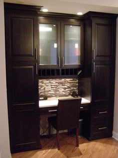 Steve Bailey - Amish Custom Kitchenss Design Ideas, Pictures, Remodel, and Decor - page 8 Kitchen Desk Areas, Kitchen Desks, Kitchen Office, Office Nook, Beautiful Kitchen Designs, Modern Kitchen Design, Home Renovation, Home Remodeling, Home Office Design