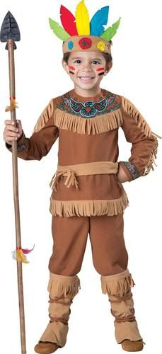 This costume includes a brown fringed jumpsuit with Indian art, attached boot covers and a headpiece with felt feathers. Does not include spear.