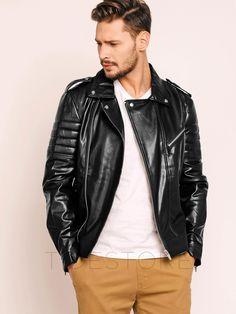 tidestore - tidestore Lapel Side Zipper Asymmetric Mens PU Jacket - AdoreWe.com