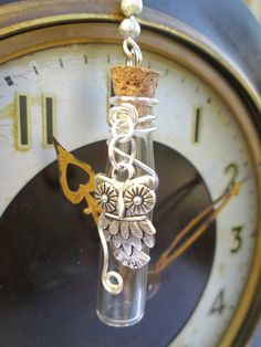 Owl charm glass vial necklace with silver wire wrap by WhimsyJig, €12.00