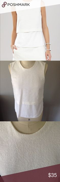 "BCBGMAXAZRIA ""Joanie"" Off-White Top Sleeveless off-white textured. ""Like-New"" condition. Matches with my posting of the Nathan Jacket. BCBGMaxAzria Tops Tank Tops"