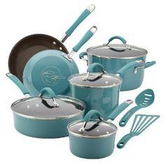 Amazon.com: Rachael Ray Cucina Porcelain Enamel Nonstick 12-Piece Cookware Set, Agave Blue: Kitchen & Dining