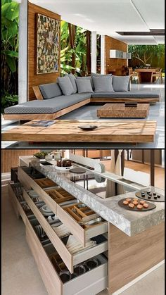 Pin by achu rajesh on Home & deco (With images) Modern Kitchen Design, Modern House Design, Interior Design Living Room, Living Room Designs, Living Room Decor, Dream Home Design, Küchen Design, Design Ideas, House Rooms
