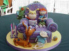 Rugrats on Sofa Birthday Fondant Cake