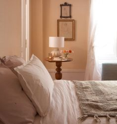Guest Bedroom // Carol Neilyu0027s Soft Peach Colored Bedroom In France