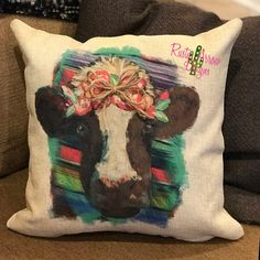 Serape Floral Cow Decorative Throw Pillow Cover is a has a convenient zipper for easy pillow insertion.*****THIS IS FOR A COVER ONLY*******For a fuller pillow purchase a pillow insert. Cowgirl Bedroom, Western Bedroom Decor, Western Bedding, Western Bedrooms, Western Decor, Patchwork Pillow, Quilted Pillow, Herringbone Quilt, Cow Decor