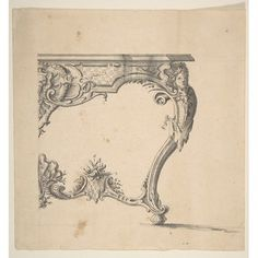 Design for a Table Poster Print by Giovanni Battista Natali III (Italian Pontremoli Tuscany 1698 Naples) x Gothic Furniture, Classic Furniture, Furniture Styles, Vintage Wall Art, Vintage Walls, Luís Xvi, Italian Interior Design, Ornament Drawing, Neoclassical Architecture