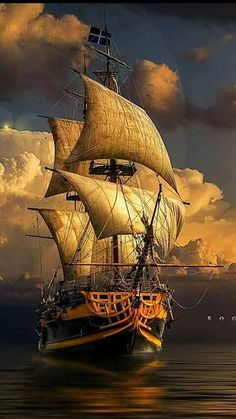 A beautiful pirate ship is mystic yellow depicting sunlight in this painting. Pirate Boats, Old Sailing Ships, Sea Of Thieves, Ship Drawing, Ship Paintings, Boat Art, Wooden Ship, Ship Art, Model Ships