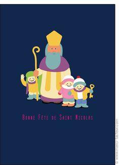 #Carte #SaintNicolas #stNicolas Carte Saint Nicolas et les enfants illustr�s pour envoyer par La Poste, sur Merci-Facteur !