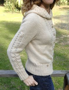 Basic Chic Hoodie by Bonne Marie Burns knit in a Worsted 10ply is a top-down with positive ease.  A pretty cute cardi with instructions for the lace panels or just knit in stockinette stitch