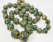 Art Deco Czech Art Glass Bead Necklace Signed Graduated Antique Blue Green Beads 515FG