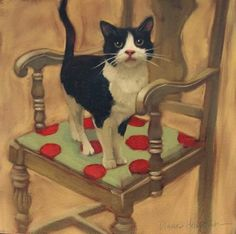 "Daily Paintworks - ""Cat on Chair a new cat painting"" - Original Fine Art for Sale - © Diane Hoeptner"