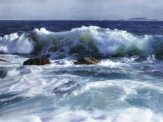 Seascape by Yi Liu - Seascape Painting - Seascape Fine Art Prints and Posters for Sale Watercolor Landscape, Landscape Art, Landscape Paintings, Seascape Paintings, Watercolor Paintings, Watercolors, Ocean Scenes, Water Art, Sea Art