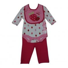 Bon BeBe Baby Girls Fuchsia Pink Strawberry Onesie Bib Pants Outfit 0-9M