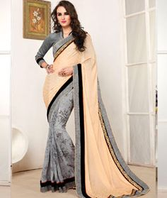 Buy Beige Georgette Party Wear Saree 71853 with blouse online at lowest price from vast collection of sarees at Indianclothstore.com.