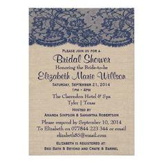 Vintage Navy Lace On Rustic Burlap Bridal Shower Personalized Announcement