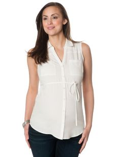 Sleeveless Button Detail Maternity Top #smartsuiting