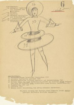 Costume design by Oskar Schlemmer (1888-1943),  c. 1938, Spiral (Spirale) from Notes and Sketches for the Triadic Ballet. (Bauhaus)