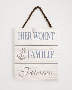 Maritimes Türschild aus Holz, Familien Schild, Anker / maritime wooden door plate with anchor, family sciene made by Herzensprojekt - Handgefertigte Holzschilder via DaWanda.com (Diy Decorations Door)