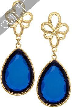 Nora- Celtic Knot Teardrop Earrings in Blue Blue Cross, Blue Bridal, Cross Earrings, Gold Set, Something Blue, Celtic Knot, Teardrop Earrings, Bridal Accessories, Wedding Jewelry