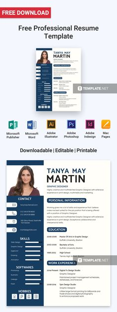 Free Fashion Designer Resume Template Portfoilo Pinterest