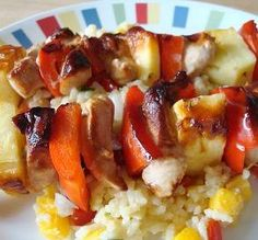"""Grilled Hawaiian Chicken Skewers: """"These were great! I marinated the chicken for an hour or so. We really liked the flavor and texture contrasts."""" -Chocolatl"""