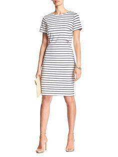 Stripe Button-Tab Sheath Dress