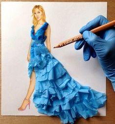 Armenian Fashion Illustrator Creates Stunning Dresses From Everyday Objects Pics) - moda Arte Fashion, 3d Fashion, Ideias Fashion, Fashion Dresses, Fashion Design Drawings, Fashion Sketches, Dress Sketches, Drawing Fashion, Fashion Sketchbook