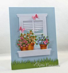 window with flower pots card by Kittie Caracciolo
