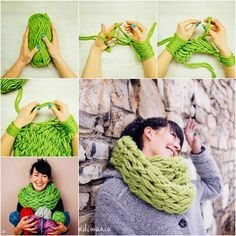 Easy Homesteading: DIY Infinity Scarf Arm Knitting Tutorial