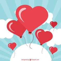 Heart shaped balloons free vector