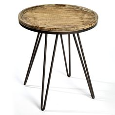Timber Top Iron Side Table PC