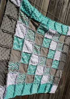 Gray & Aqua CHEVRON Rag Quilt/Blanket! Adorable baby boy nursery crib bedding/quilt, aqua nursery, gray nursery, aqua and gray nursery, by BabyBazerk, $75.00