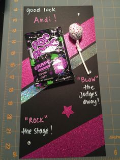 Good luck signs for dance competition!  Pink sparkly duck tape is my new favorite thing ;)