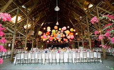 Paper lanterns look like a balloon drop with a fun array of colors. Beams make it using to hang string lights too.