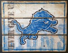 Detroit Lions Never Give Up vintage looking by HotShotPalletworks, $46.00